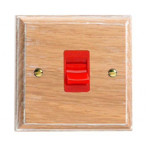 Varilight XK45SLOW Kilnwood Limed Oak 45A DP Cooker Switch Single Plate